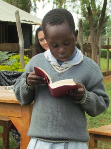 Sweet Anita reads from her new bible donated by Todd and Cindy Stone
