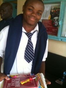Patrick Muriuki in one of his many school uniforms.