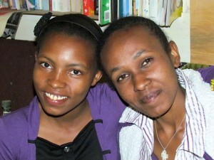 Pendo (L) and me (R) today.  We are both schooling in Kenya through the generosity of Matanya's Hope sponsors