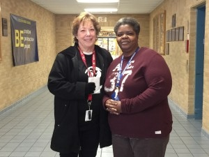 Matanya's Hope Vice President Ann Thomson pictured here with Brenda Hobson, Decatur Middle School, Indianapolis  IN