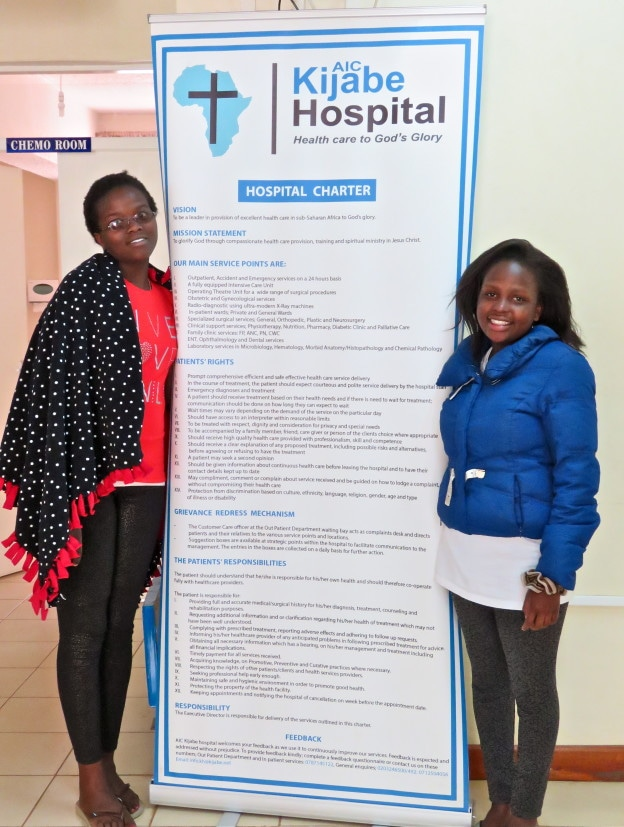 Myself (tall one) and Winnie, both Matanya's Hope sponsored students, here at Kijabe Hospital for medical treatment.