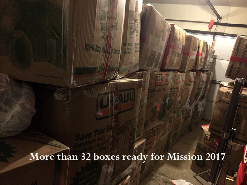 More than 32 boxes currently await shipment to communities in need in Kenya