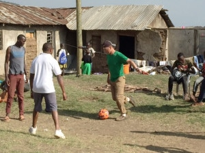 My dad playing soccer (football) here with kids at one of the orphanages we visited.  My eyes teared as I wondered if Theresa had ever played anything with her father.