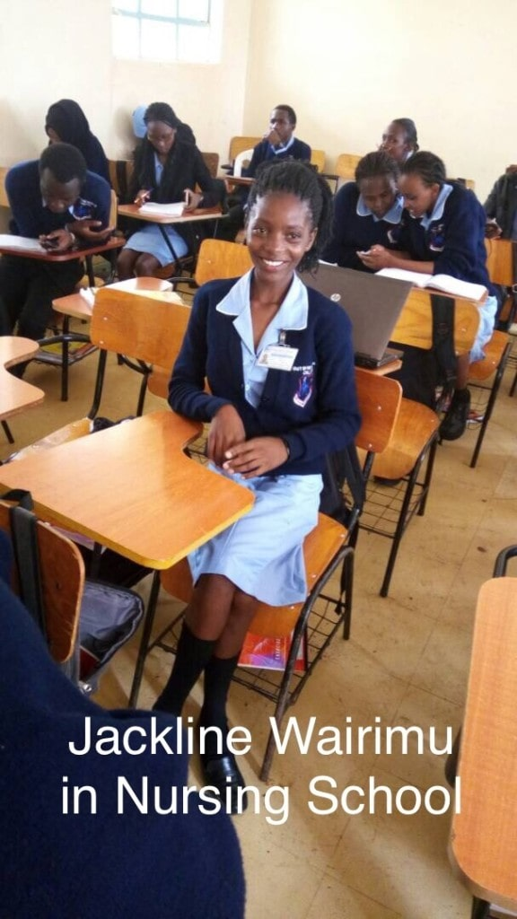 Jackline Wairimu in class  at one of Kenya's Medical Training Colleges.  Thanks to the gift of hope through sponsorship, Jackline is studying to become a nurse.