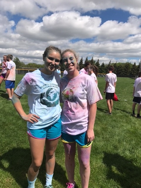 Sponsor Lindsey Masterman and friend from Glenbrook North after running the 5K