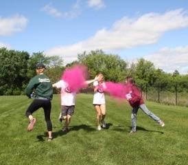 spraying pink