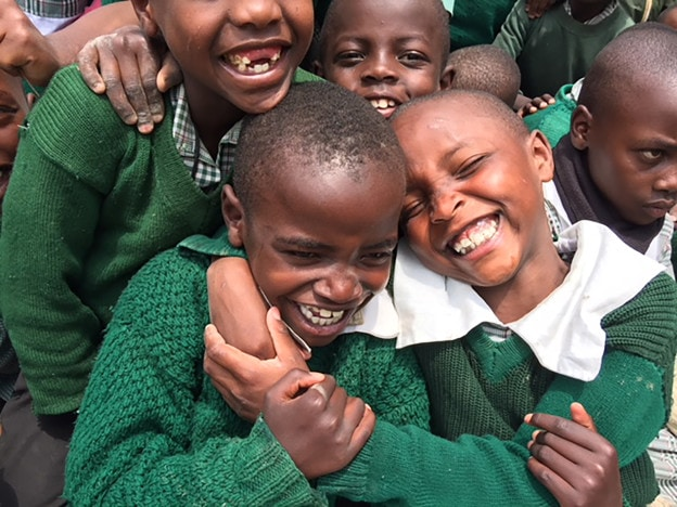 CHILDREN LAUGHING AT CCM PRIMARY SCHOOL - NANYUKI