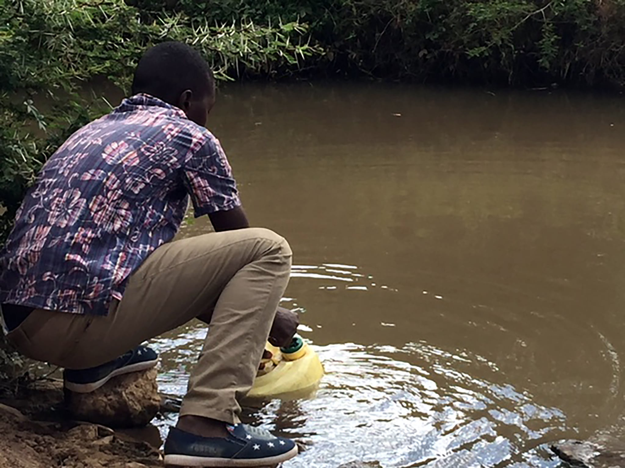 This student is at a local river gathering unclean, bacteria laden water for his family to drink.  Many suffer from typhoid and cholera due to drinking such contaminated water.